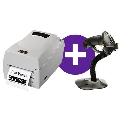 Kit Impressora OS-214 Plus Argox + Leitor LS2208 c/ Suporte Zebra