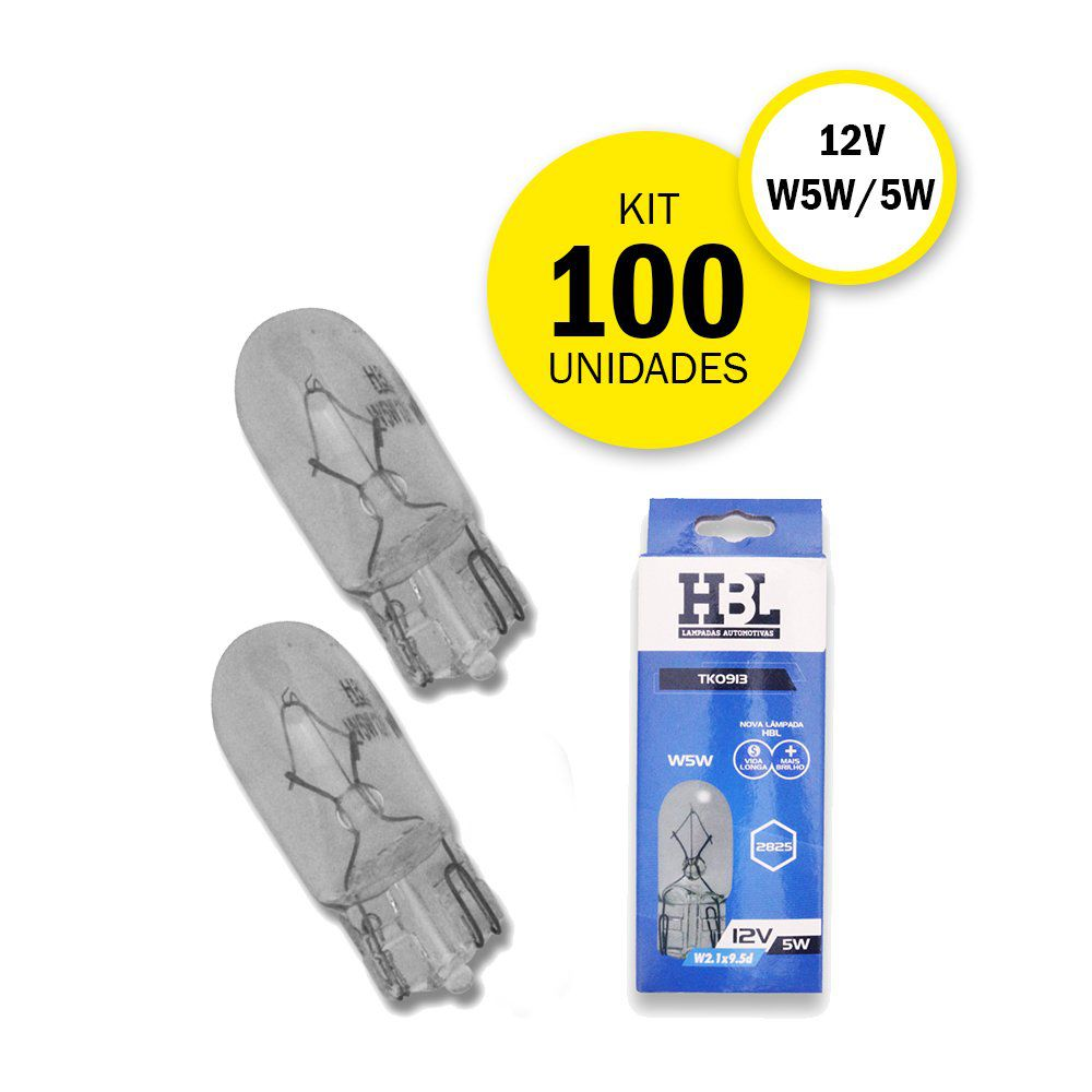 Kit 100 Lâmpadas T10 Pingo/Pingão 5W