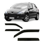 Calha de Chuva Peugeot 307 Hatch e Sedan Escapade 4 Portas Preto Sem Transparência 01 02 03 04 05 06 07 08 09 10 11 12 Marca Ibrasa