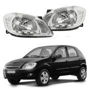 Farol Com LED – Celta e Prisma - Prata / Máscara Cromada - Modelo Esportivo / Tuning – 06 07 08 09 10 11 12 13 14 15 - Marca Inov9