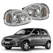Farol Com LED – Corsa, Corsa Sedan, Corsa Wagon, Corsa Classic, Pickup Corsa - Prata / Máscara Cromada - Modelo Esportivo / Tuning – 94 95 96 97 - Marca Inov9