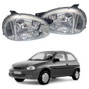 Farol Com Pisca – Corsa Sedan, Corsa Wagon, Corsa Hatch e Pickup Corsa – Prata / Máscara Cromada - Modelo Original – 94 95 96 97 98 99 00 01 02 03 04 - Marca Inov9