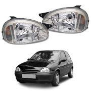 Farol Corsa Sedan, Corsa Wagon, Corsa Hatch e Pickup Corsa Prata Máscara Cromada Modelo Original 94 95 96 97 98 99 00 01 02 03 04 Marca Inov9