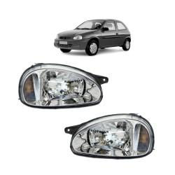 Farol Corsa Wind Hatch Wagon Pick-up Sedan 94 95 96 97 98 99 00 01 02 03 Corsa Classic 03 04 05 06 07 08 09 10 Pisca Âmbar Carcaça Cinza
