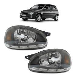 Farol Corsa Hatch Wagon Pick-up Sedan 94 95 96 97 98 99 00 01 02 03 Corsa Classic 03 04 05 06 07 08 09 10 Máscara Negra Com LED