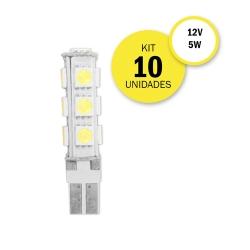 Kit 10 Lâmpadas Pingo T10 13 Leds 12v 5w Luz Branca