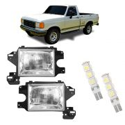 Farol Ford F1000 e F4000 de Vidro com Lâmpadas T10 13 LEDS – Modelo Original – 92 93 94 95 96 97 - Marca INOV9