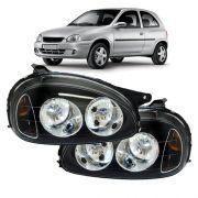 Par Farol Corsa Hatch Wagon Pick-up Sedan 94 95 96 97 98 99 00 01 02 03 Corsa Classic 03 04 05 06 07 08 09 10 Máscara Negra Foco Duplo