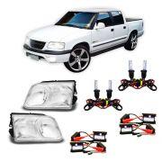 Farol Pick-up S10 e Blazer com Kit Xênon 8000K HB3 e HB4 – Modelo Original – 95 96 97 98 99 00 - Marca INOV9
