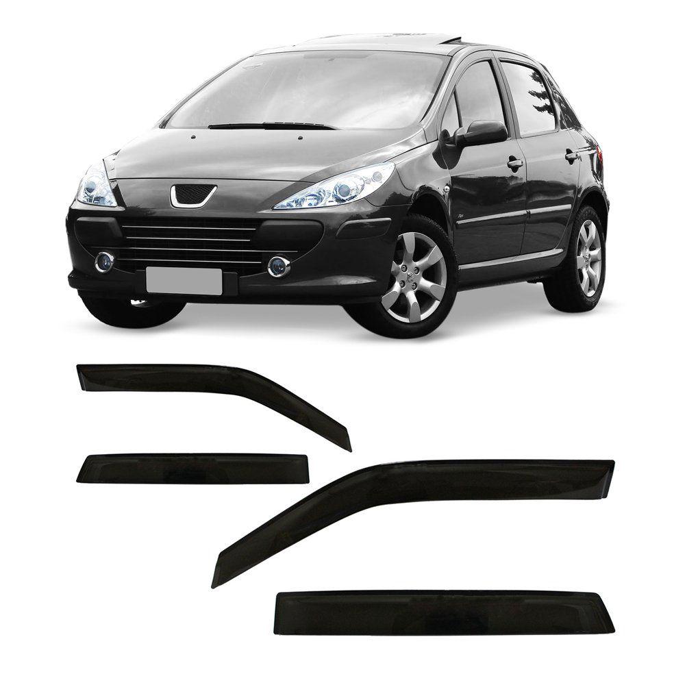 Calha de Chuva Peugeot 307 Hatch e Sedan 01 02 03 04 05 06 07 08 09 10 11 12 4 portas Fumê  - Artmilhas