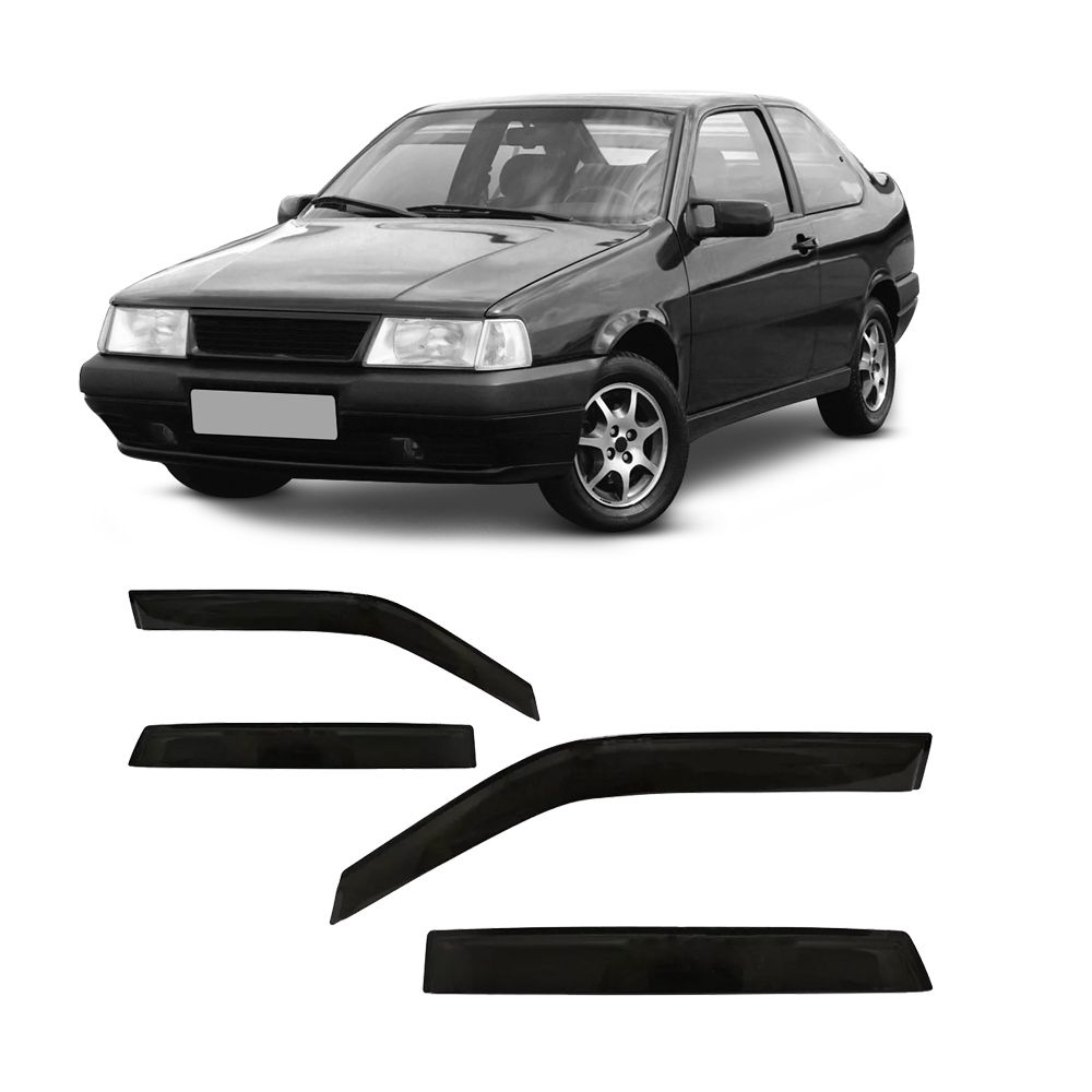 Calha de Chuva Fiat Tipo, Tempra e Tempra SW 4 Portas Preto Sem Transparência 92 93 94 95 96 97 98 99 Marca Ibrasa  - Artmilhas
