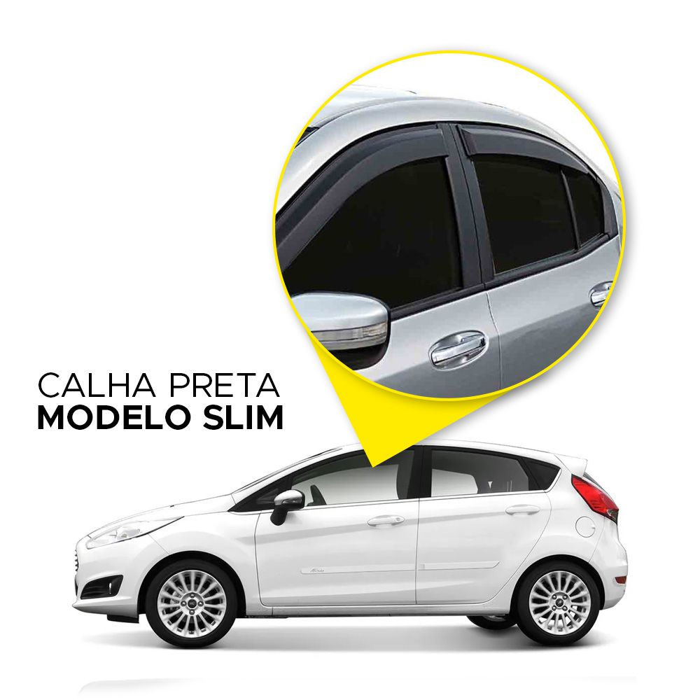 Calha de Chuva New Fiesta Hatch 11 12 13 14 15 16 17 18 4 portas Fumê Marca Ibrasa  - Artmilhas