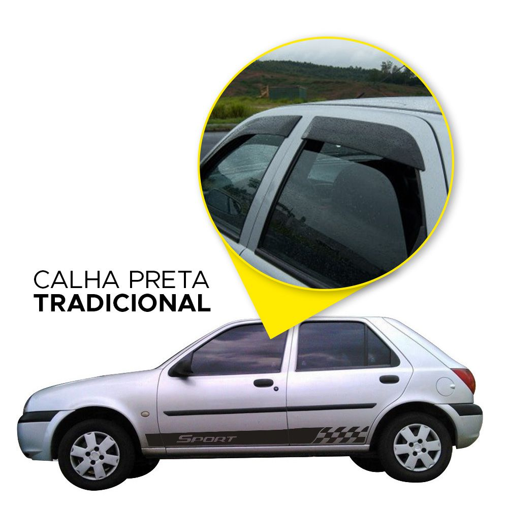 Calha Fiesta Hatch Sedan 95 96 97 98 99 00 01 02 4 portas Fumê