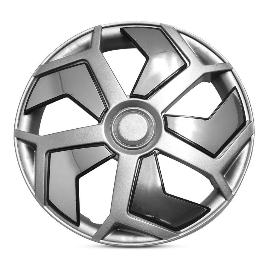 Calota Aro 14 Modelo Lamborghini Encaixe de Pressão Cor Prata com Cromado Marca Ibrasa