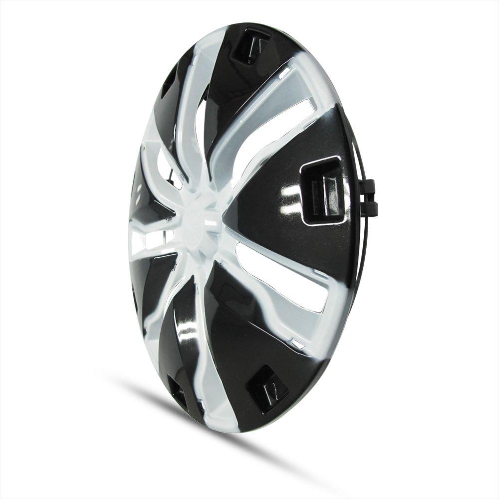 Calota Aro 14 Modelo Starmax Encaixe de Pressão Cor Branca com Preto Marca Ibrasa