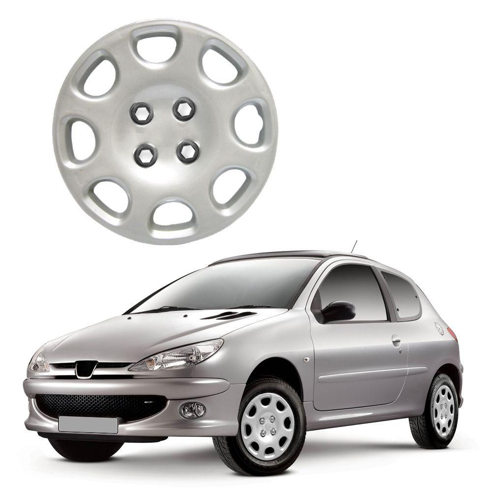 Calota Aro 14 Peugeot 206 99 00 01 02 03 04 05 06 Modelo Original Encaixe de Pressão Cor Prata Marca Ibrasa
