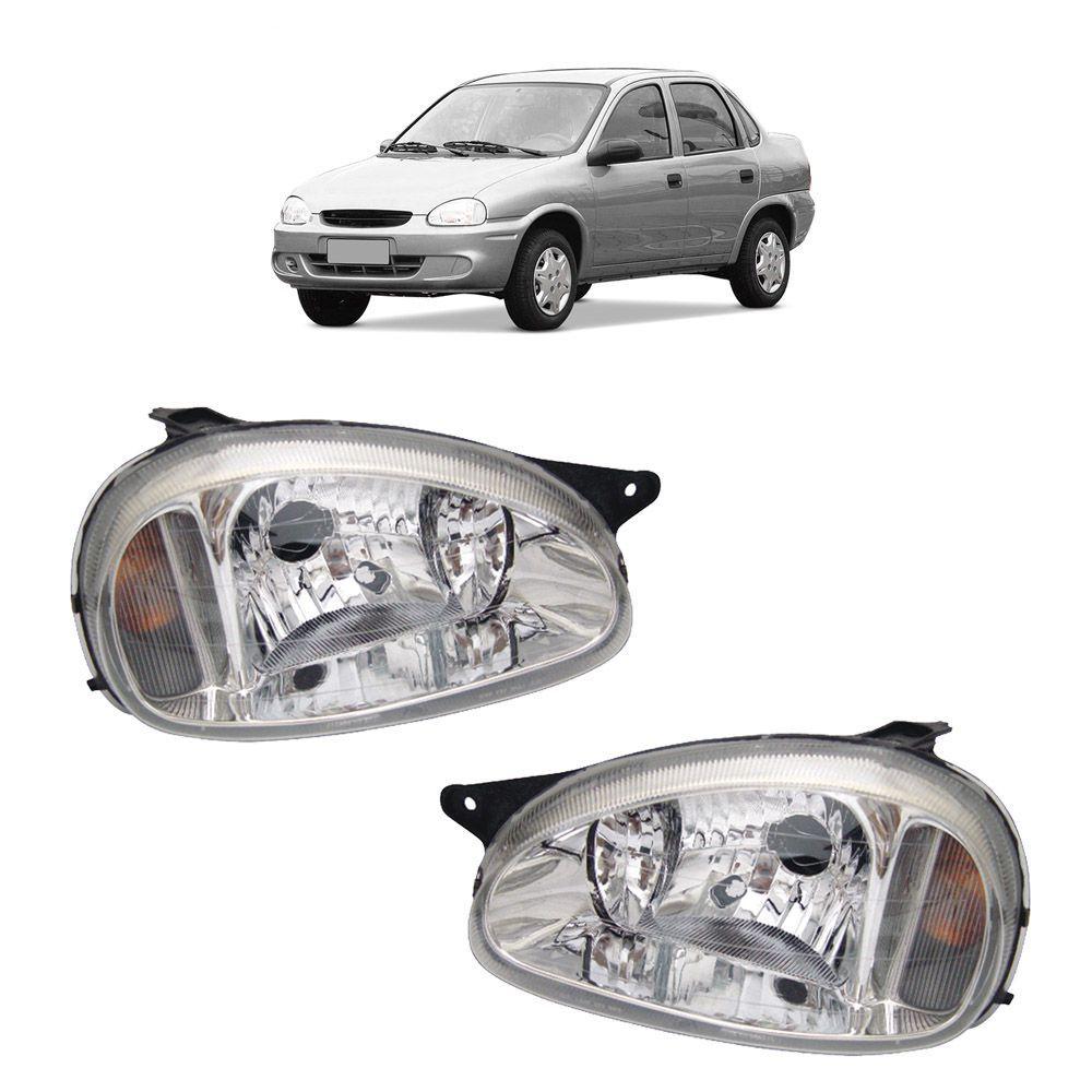 Farol Corsa Hatch Wagon Pick-up Sedan 94 95 96 97 98 99 00 01 02 03 Corsa Classic 03 04 05 06 07 08 09 10 Lente de Acrílico Lente Lisa Pisca Âmbar