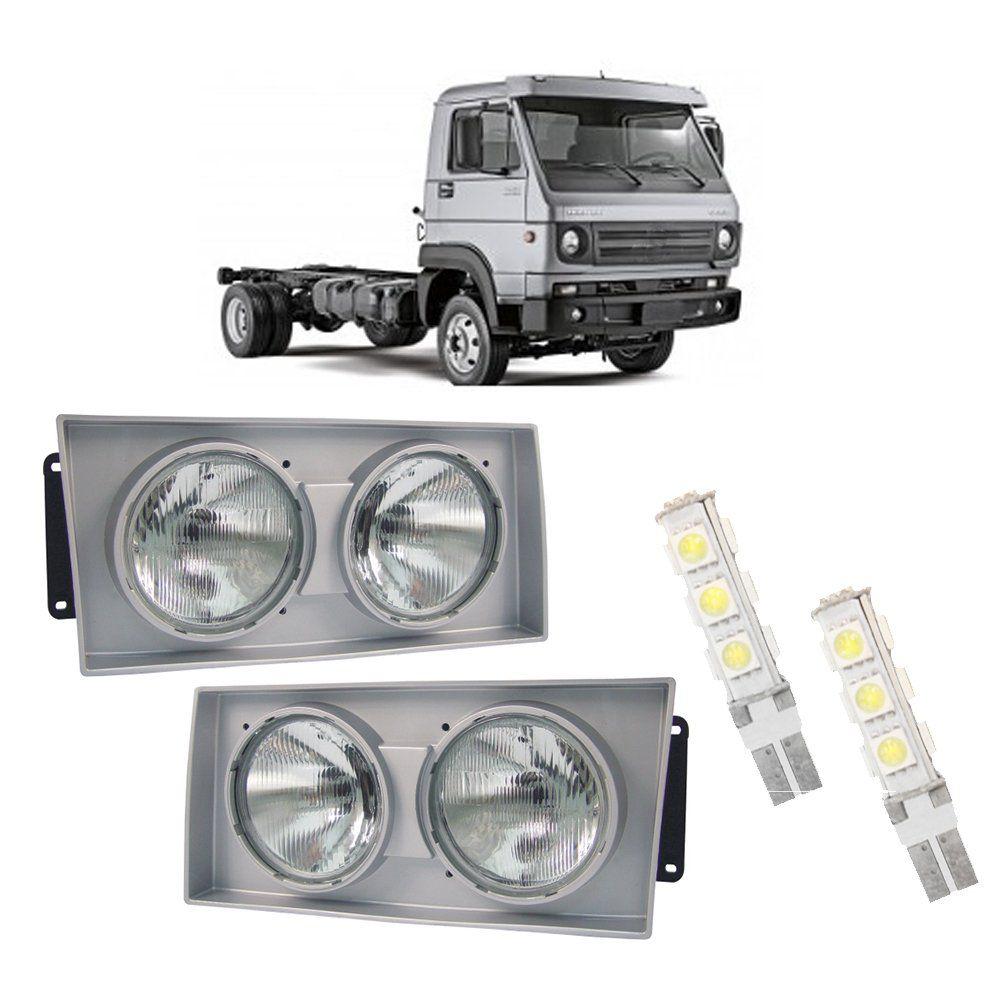 Farol Caminhões Vollkswagen  com Lâmpadas T10 13 LEDS – Modelo Original – 00 01 02 - Marca INOV9  - Artmilhas