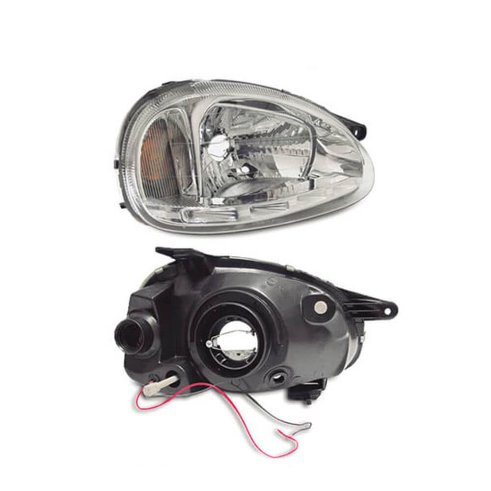 Farol Corsa Hatch Wagon Pick-up Sedan 94 95 96 97 98 99 00 01 02 03 Corsa Classic 03 04 05 06 07 08 09 10 Máscara Cromada Com LED