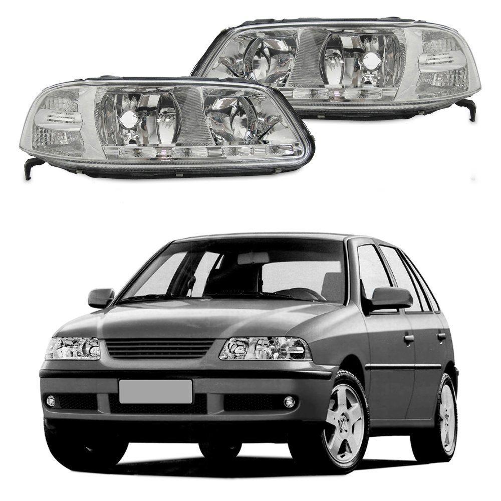 Farol com LED – Gol G3, Parati G3 e Saveiro G3 – Prata / Máscara Cromada - Modelo Esportivo / Tuning – 99 00 01 02 03 04 05 06 - Marca Inov9  - Artmilhas