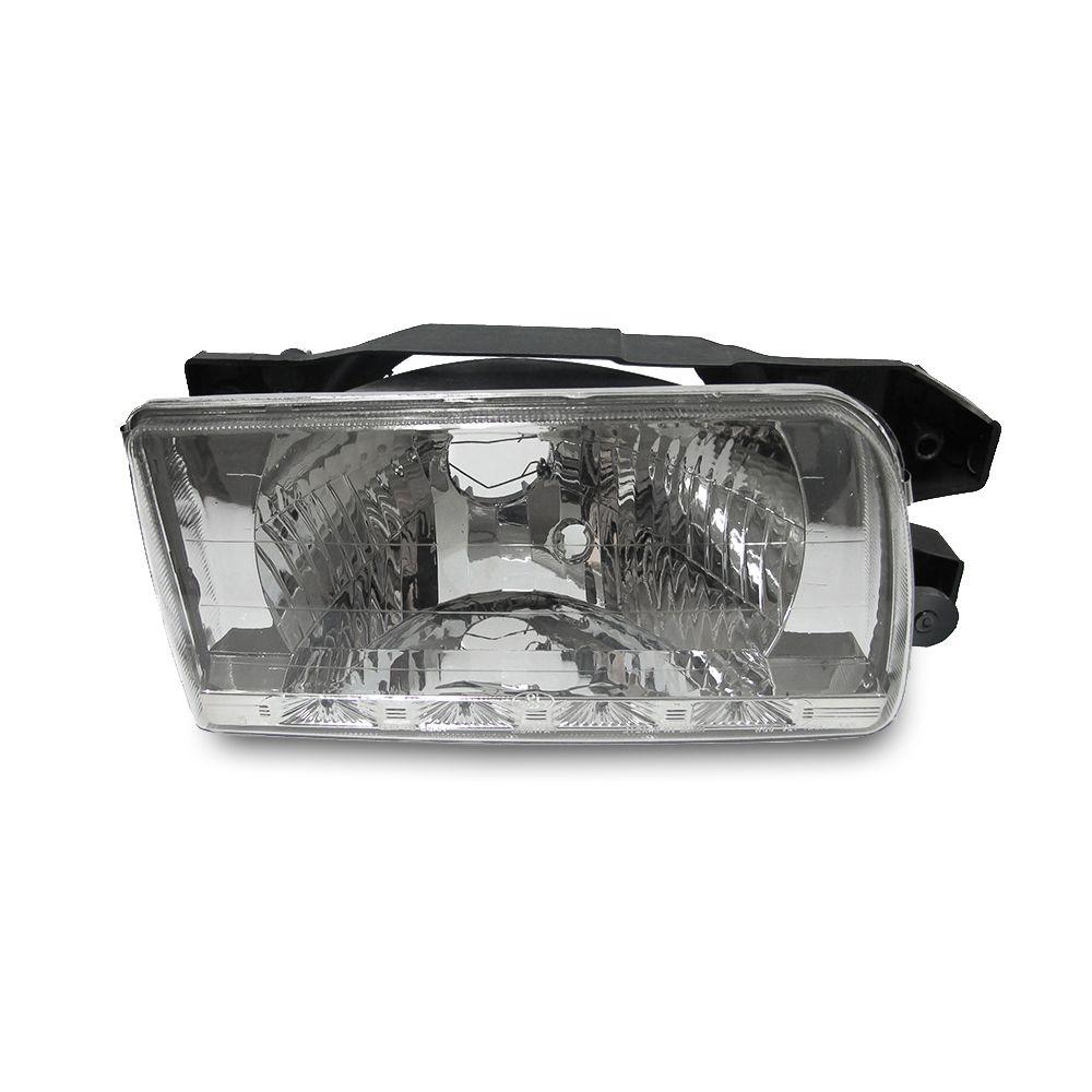 Farol com LED – Gol, Saveiro, Parati e Voyage Quadrado – Prata / Máscara Cromada - Modelo Esportivo / Tuning 90 91 92 93 94 95 96 97 - Marca Inov9  - Artmilhas