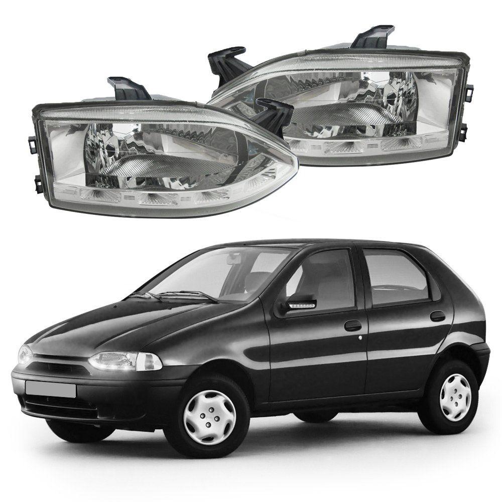 Farol com LED – Palio, Palio Young, Siena, Fiat Strada, Palio Weekend – Prata / Máscara Cromada - Modelo Esportivo / Tuning 96 97 98 99 00 01 02 - Marca Inov9  - Artmilhas