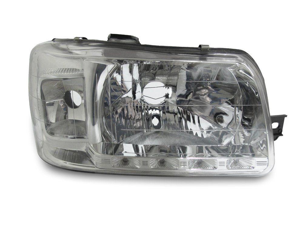 Farol com LED – Uno e Fiorino – Prata / Máscara Cromada - Modelo Esportivo / Tuning 04 05 06 07 08 09 10 11 12 13 - Marca Inov9  - Artmilhas