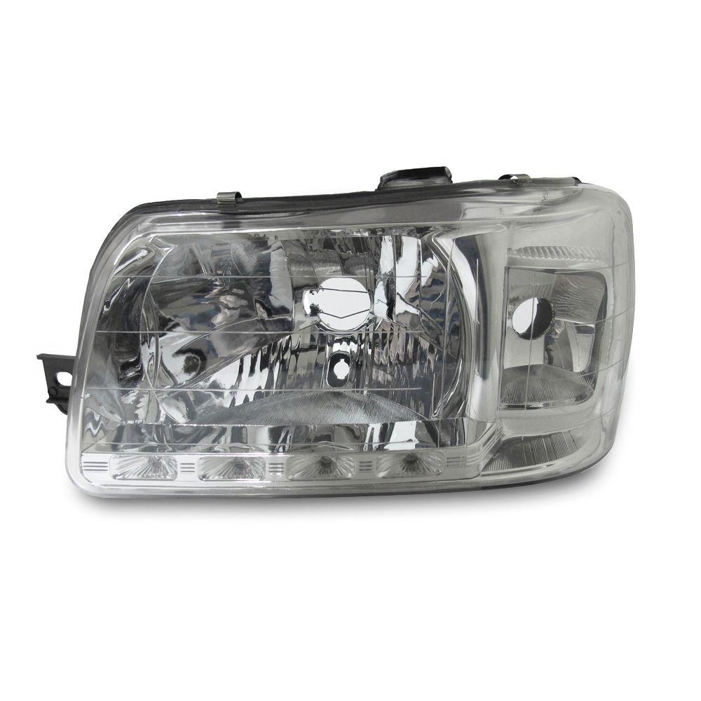 Farol com LED Uno e Fiorino Máscara Cromada Modelo Esportivo 04 05 06 07 08 09 10 11 12 13 Marca Inov9  - Artmilhas