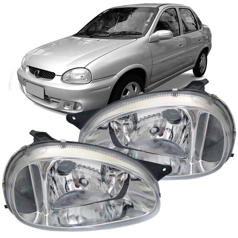 Farol Corsa Hatch Wagon Pick-up Sedan 94 95 96 97 98 99 00 01 02 03 Corsa Classic 03 04 05 06 07 08 09 10 Lente de Vidro Lente Lisa Pisca Cristal