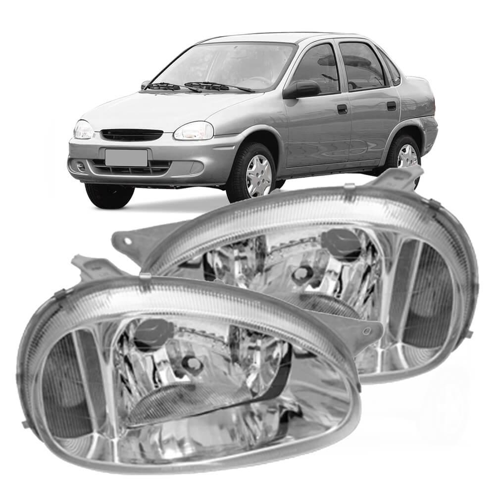 Farol Corsa Sedan Wagon Hatch Pickup Classic 94 95 96 97 98 99 00 01 02 Vidro Lente Lisa Pisca Ambar Carcaça Cinza Marca Inov9  - Artmilhas