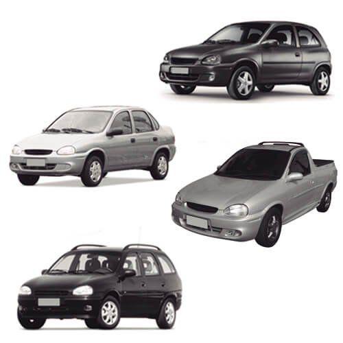 Farol Corsa Sedan, Corsa Wagon, Corsa Hatch e Pickup Corsa Prata Máscara Cromada Modelo Original 94 95 96 97 98 99 00 01 02 03 04 Marca Inov9  - Artmilhas
