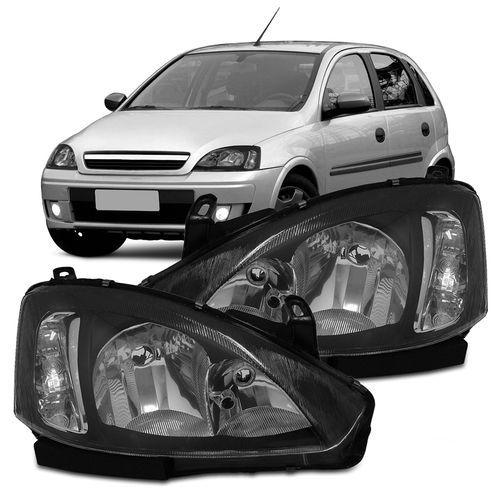 Farol Corsa Hatch Sedan Montana 03 04 05 06 07 08 09 10 11 12 Máscara Cromada Com Pisca Liso