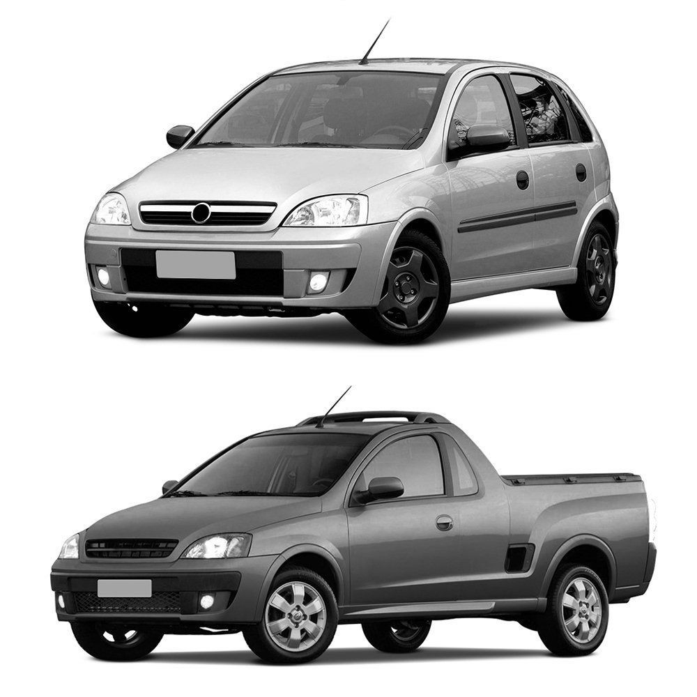 Farol Corsa Hatch Sedan Montana 03 04 05 06 07 08 09 10 11 12 Máscara Cromada Com Pisca Raiado