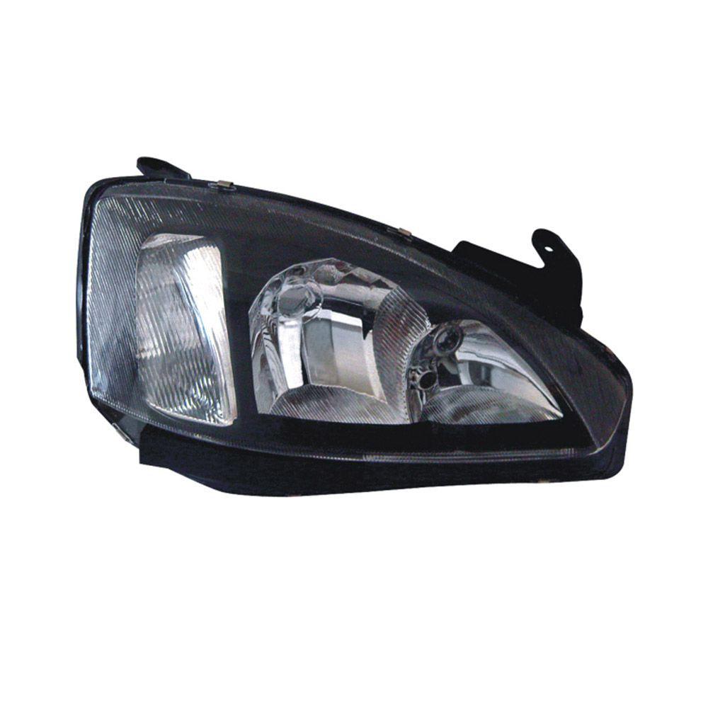 Farol Corsa Hatch Sedan Montana 03 04 05 06 07 08 09 10 11 12 Máscara Negra Com Pisca Raiado