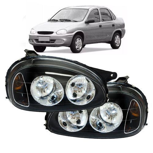 Farol Corsa Hatch Wind Wagon Pick-up Sedan 94 95 96 97 98 99 00 01 02 03 Corsa Classic 03 04 05 06 07 08 09 10 Foco Duplo Máscara Negra
