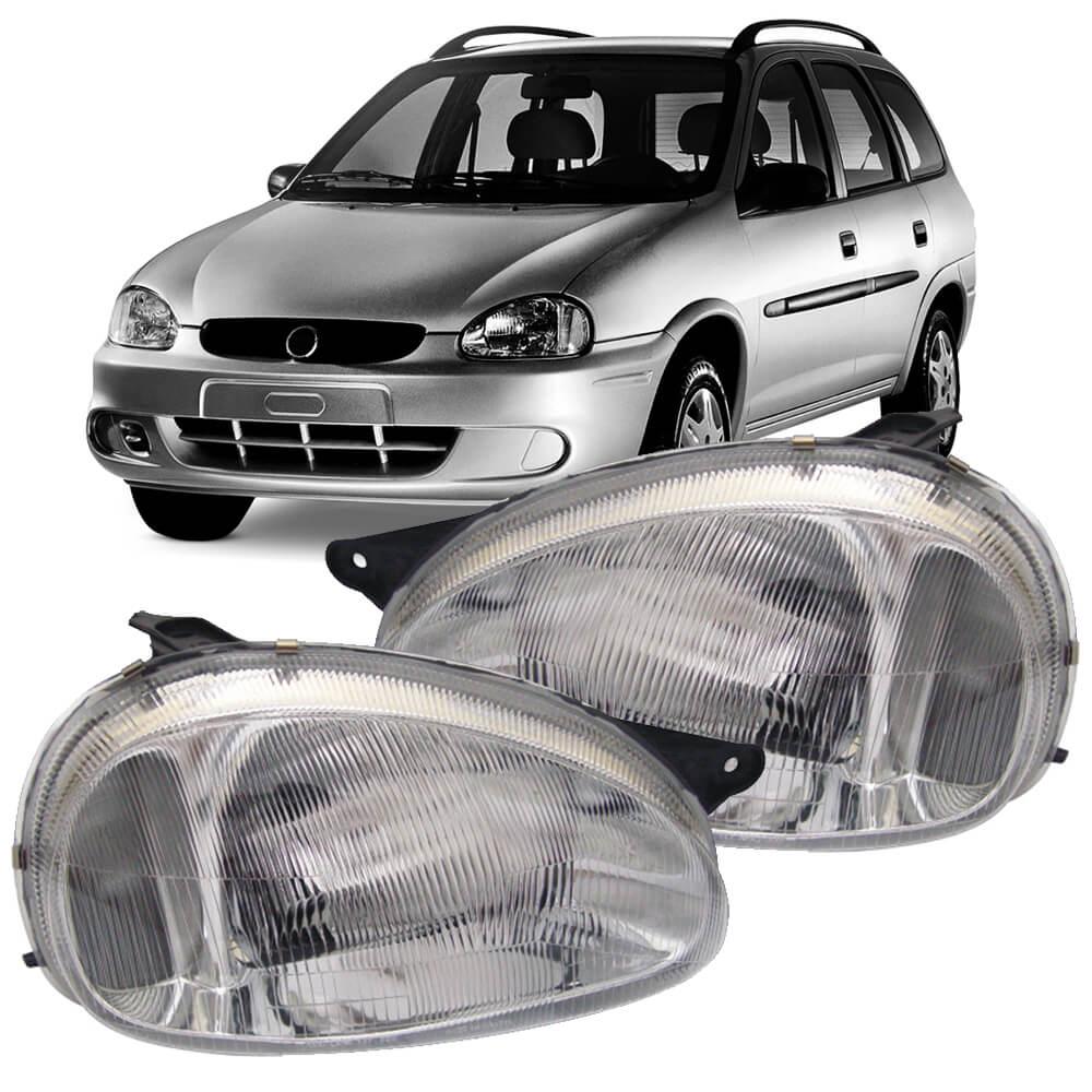 Farol Corsa Sedan Wagon Hatch Pick-up 94 95 96 97 98 99 00 01 02 03 Classic 03 04 05 06 07 08 09 10 Lente de Acrílico Pisca Cristal
