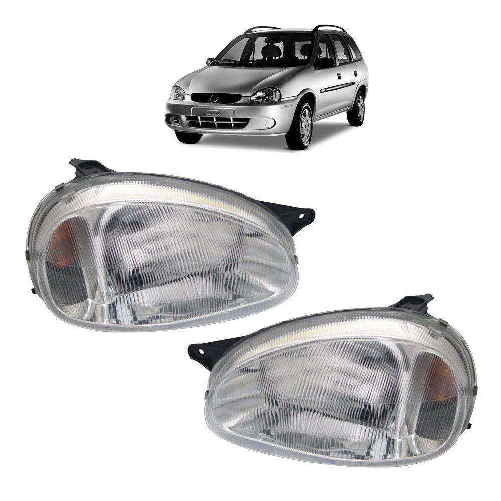 Farol Corsa Hatch Wagon Pick-up Sedan 94 95 96 97 98 99 00 01 02 03 Corsa Classic 03 04 05 06 07 08 09 10 Lente de Acrílico Pisca Âmbar
