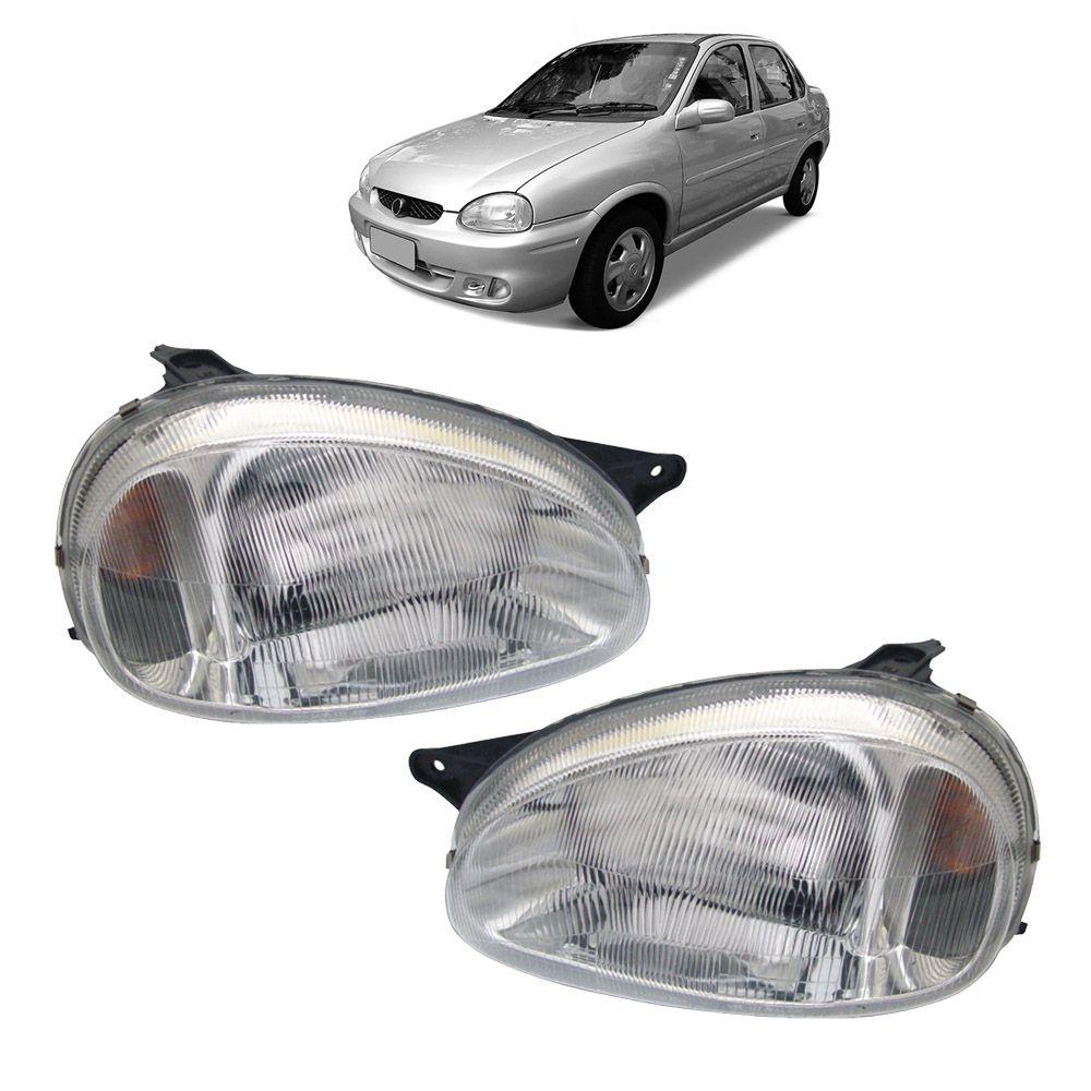 Farol Corsa Sedan, Corsa Wagon, Corsa Hatch, Pickup Corsa e Corsa Classic Prata Máscara Cromada Modelo Original 94 95 96 97 98 99 00 01 02 Marca Inov9  - Artmilhas