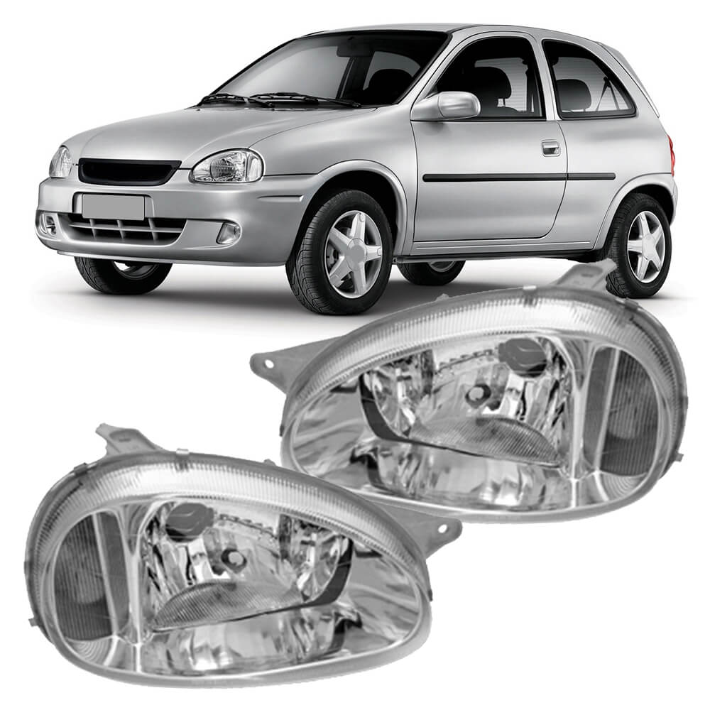 Farol Corsa Wind Hatch Wagon Pick-up Sedan 94 95 96 97 98 99 00 01 02 03 Corsa Classic 03 04 05 06 07 08 09 10 Pisca Cristal Carcaça Cinza