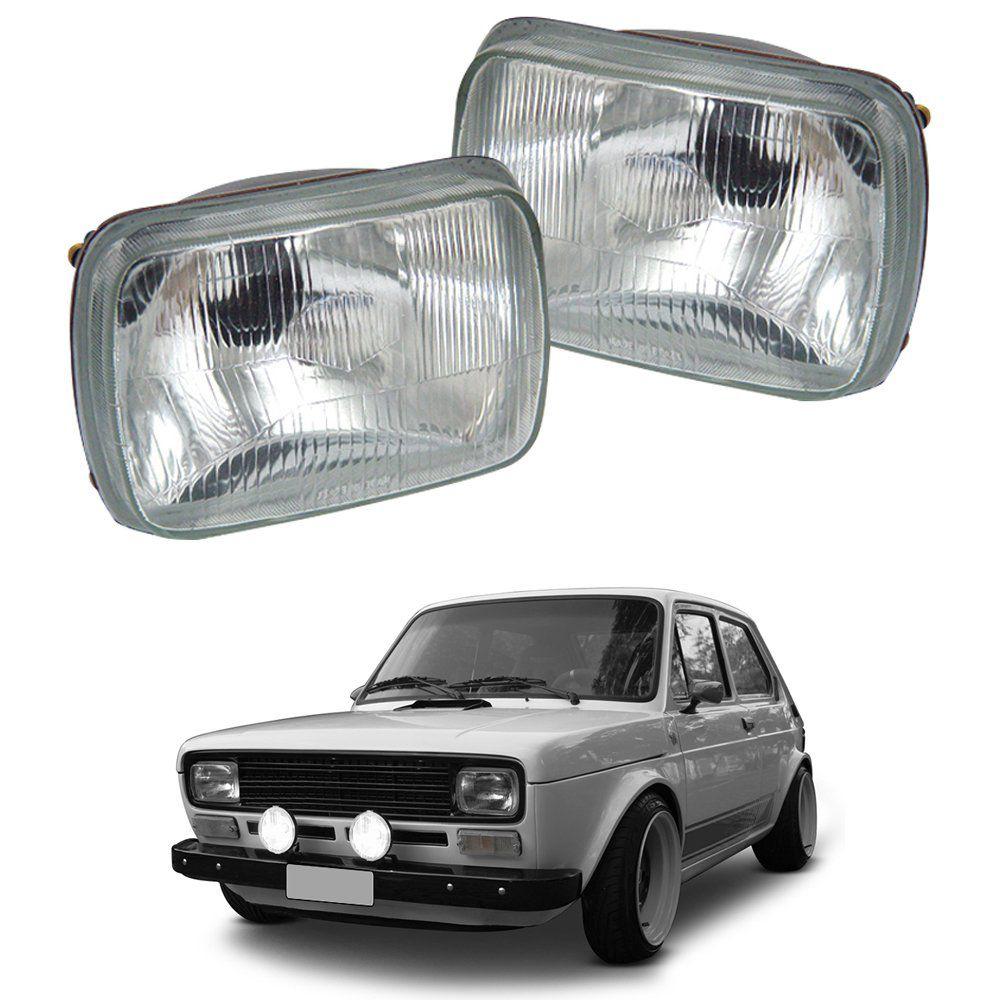 Farol Fiat 147 76 77 78 79 80 Lente de Vidro  - Artmilhas