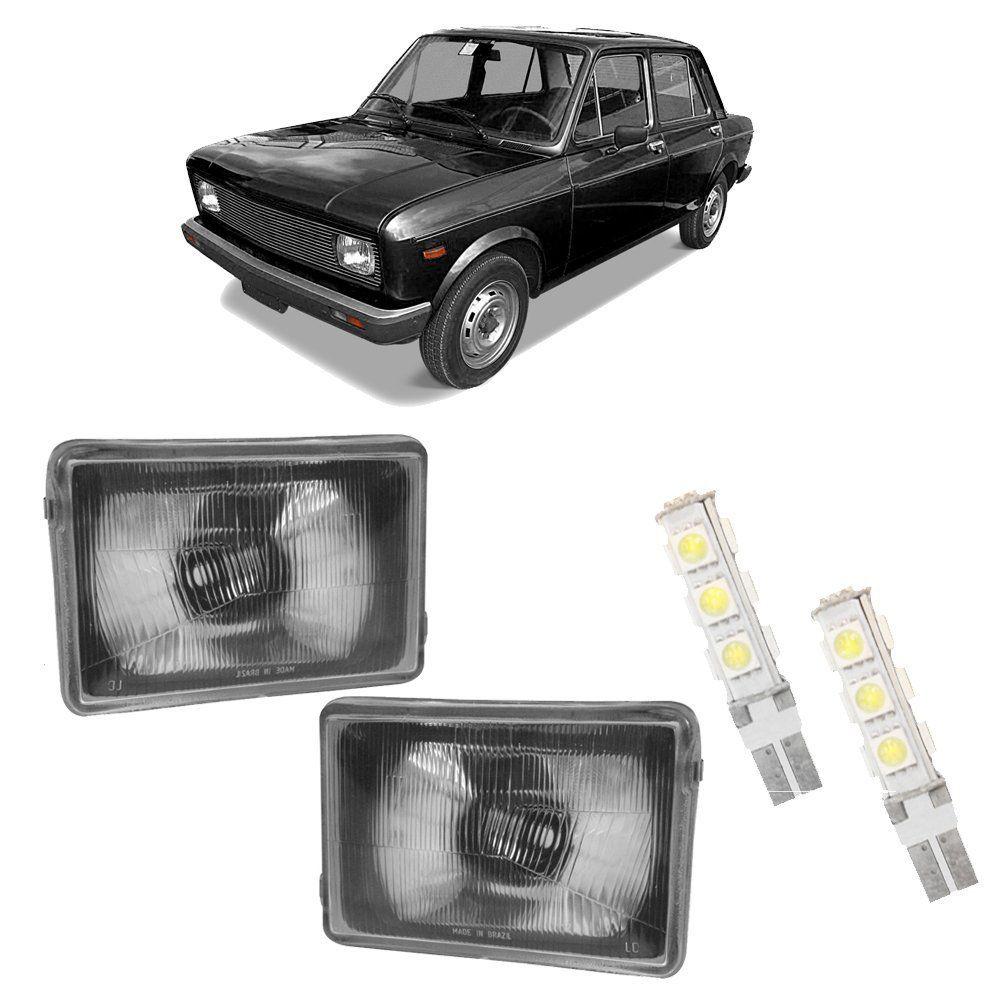 Farol Fiat Europa, Panorama e Fiorino Máscara Cromada com Lâmpadas T10 13 LEDS – Modelo Original – 80 81 82 - Marca INOV9