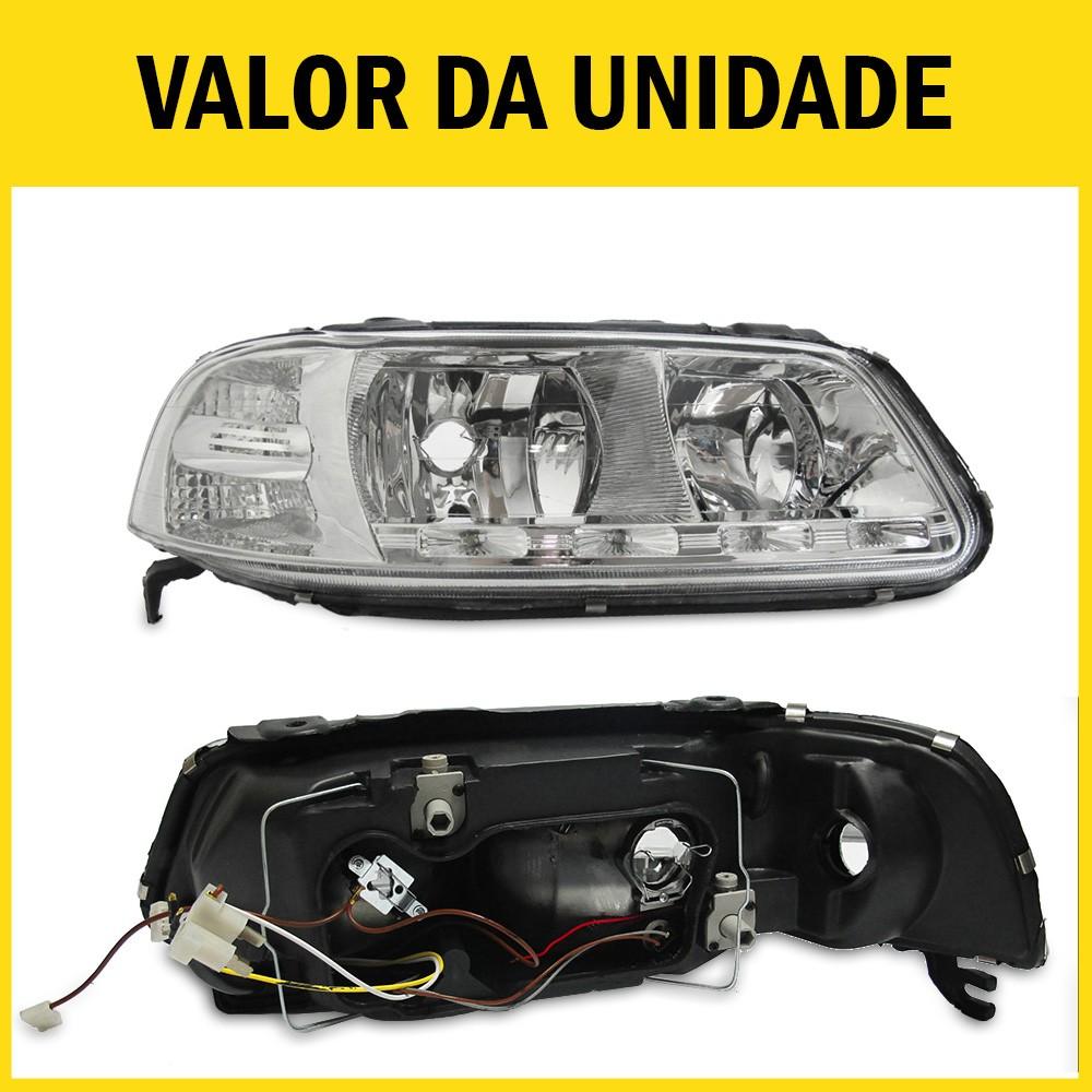 Farol Gol G3 Saveiro Parati 00 01 02 03 04 05 Máscara Cromada Com LED Foco Duplo Com Adaptação Para Foco Simples