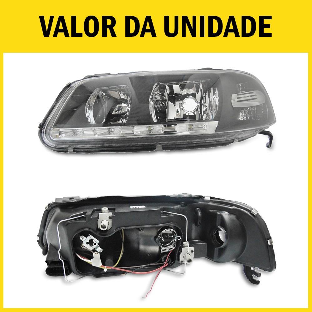 Farol Gol G3 Saveiro Parati 00 01 02 03 04 05 Máscara Negra Com LED Foco Duplo