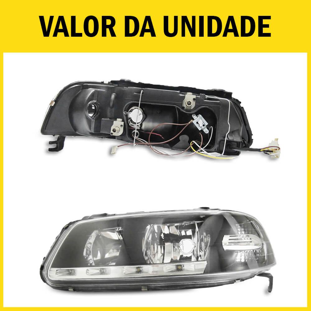 Farol Gol G3 Saveiro Parati 00 01 02 03 04 05 Máscara Negra Com LED Foco Duplo Com Adaptação Para Foco Simples