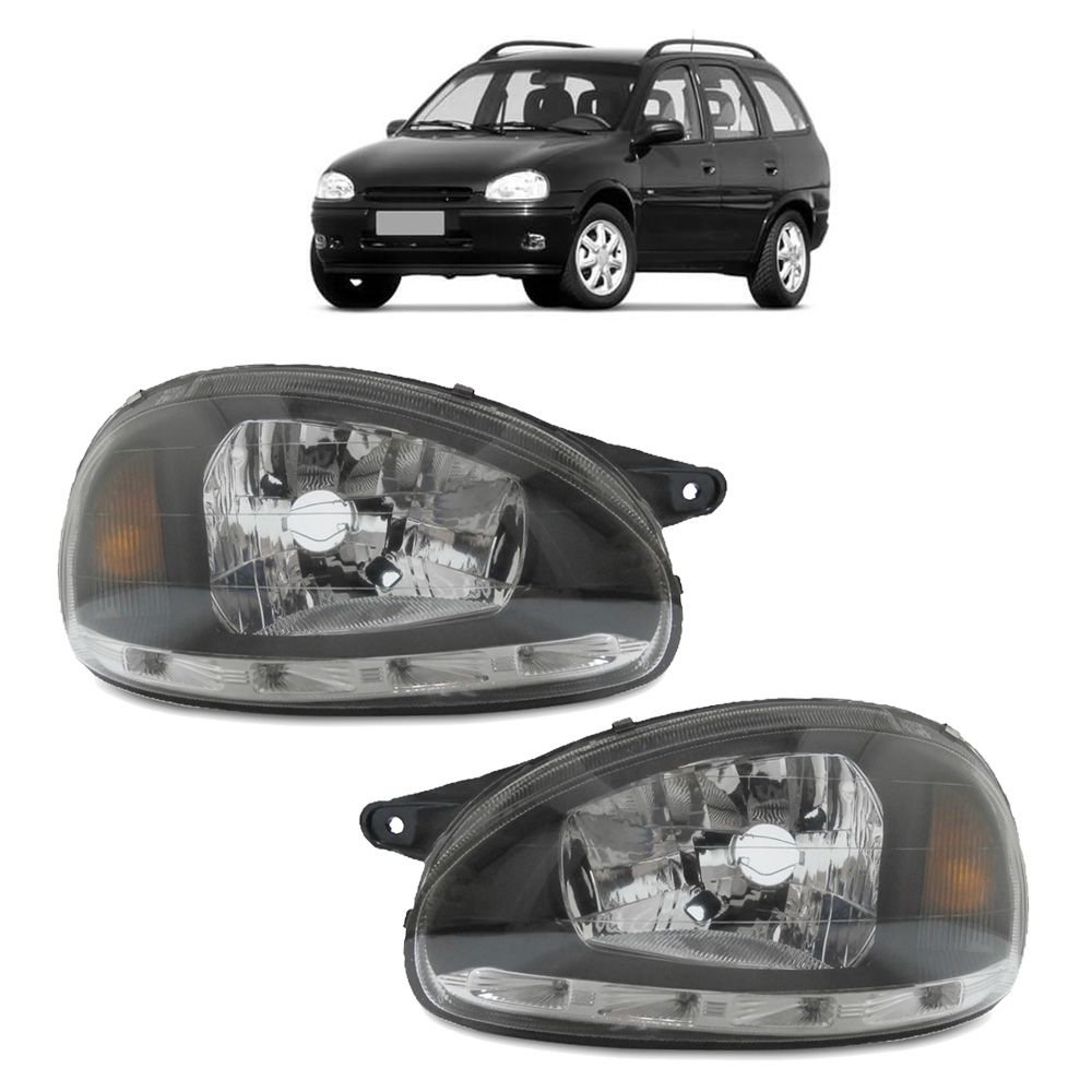 Farol Corsa Hatch Wagon Pick-up Sedan 94 95 96 97 98 99 00 01 02 03 Corsa Classic 03 04 05 06 07 08 09 10 Máscara Negra Com LED