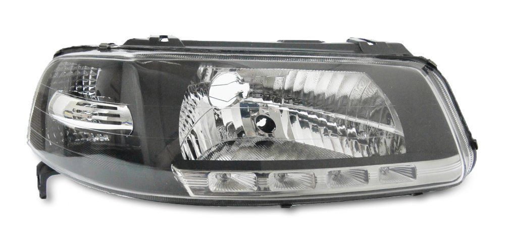 Farol com LED – Gol G3 Parati G3 e Saveiro G3 – Preto / Máscara Negra - Modelo Esportivo / Tuning – 00 01 02 03 04 05 - Marca Inov9  - Artmilhas