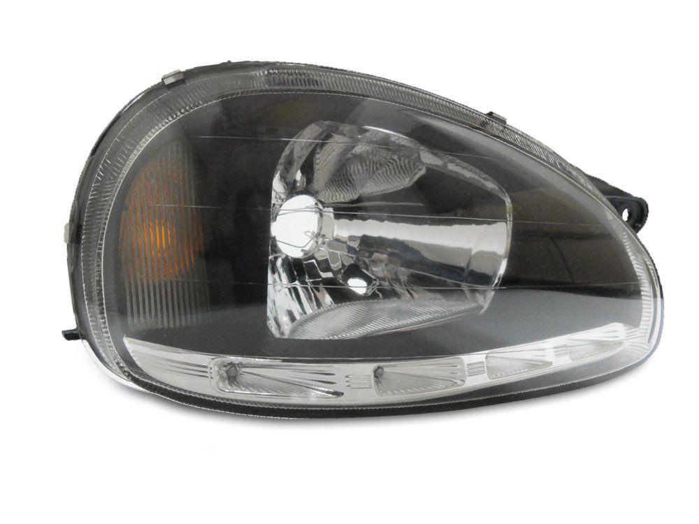 Farol Com LED– Corsa, Corsa Sedan, Corsa Wagon, Corsa Pickup e Corsa Classic – Preto / Máscara Negra - Modelo Esportivo / Tuning – 94 95 96 97 98 99 00 01 02 03 04 05 06 07 08 09 10 - Marca Inov9  - Artmilhas