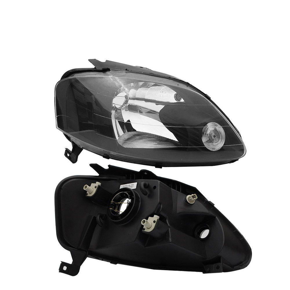 Farol Modelo ARTEB Fox, Crossfox e Spacefox Preto Máscara Negra Modelo Esportivo Tuning 03 04 05 06 07 08 09 Marca Inov9  - Artmilhas