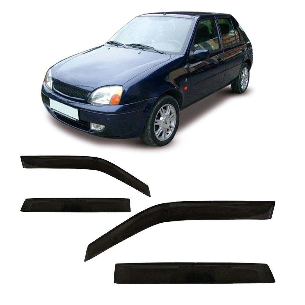 Calha Fiesta Hatch 4 Portas Preto Sem Transparência 96 97 98 99 00 01 02 Marca Ibrasa  - Artmilhas