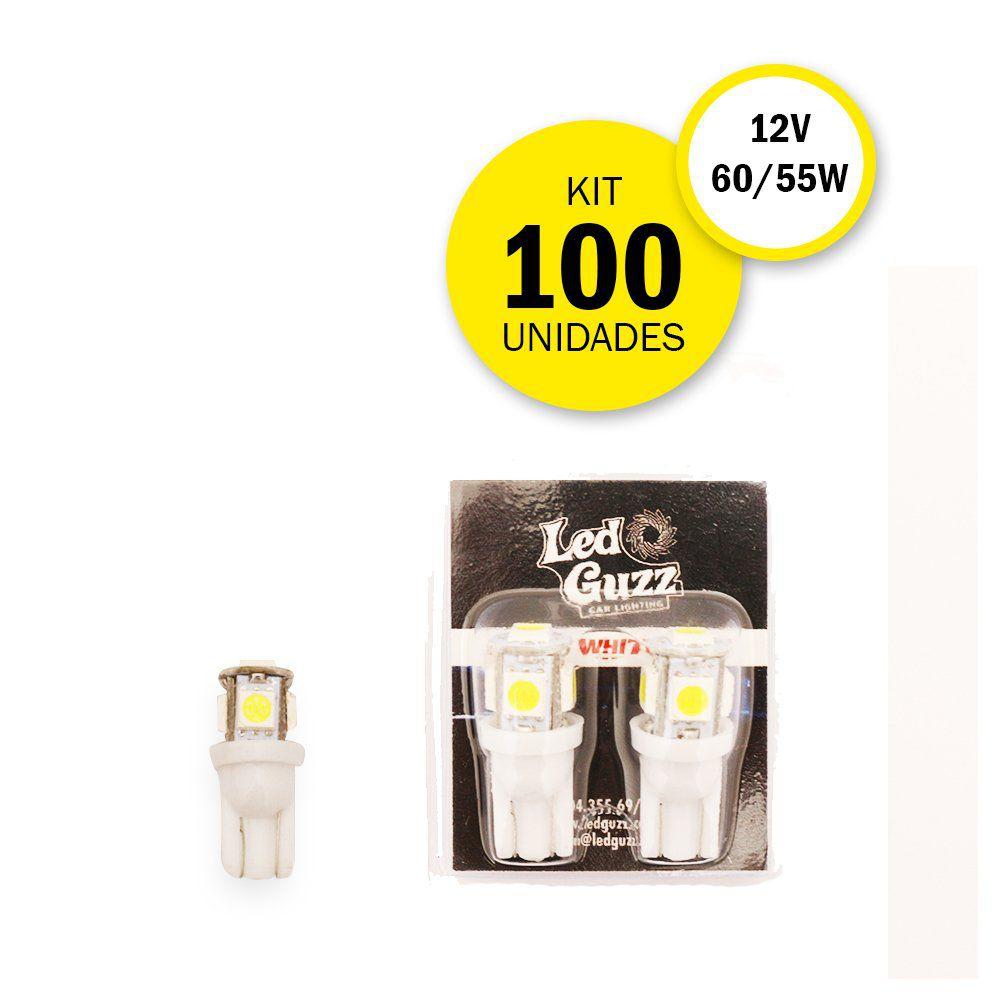 Kit 100 Lâmpadas T10 5 LEDS  – Modelo Pingo/Pingão 360º
